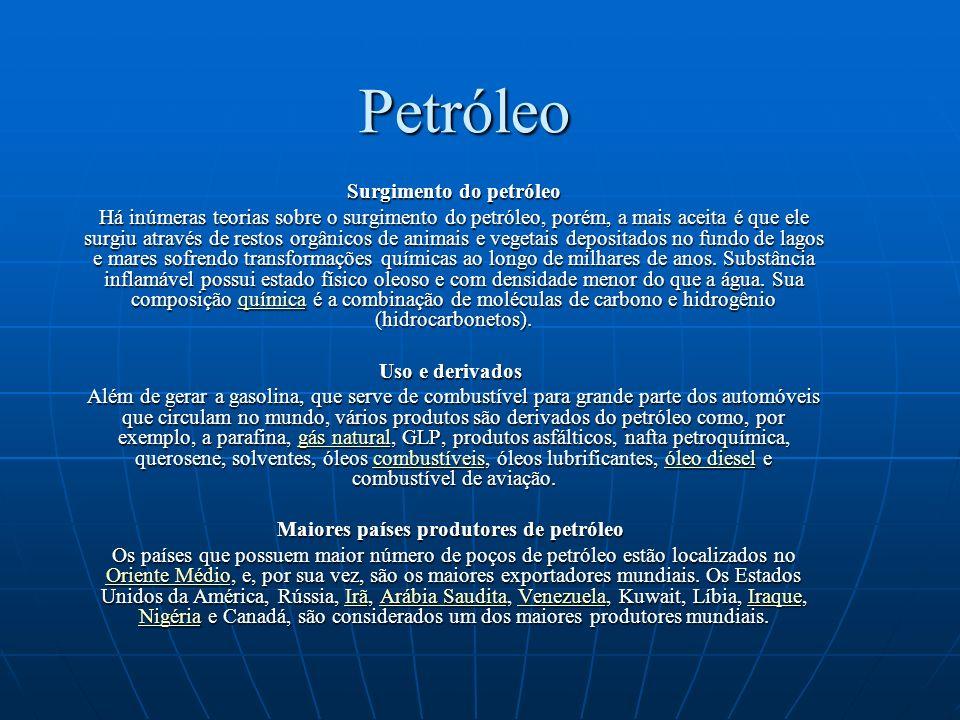 Petróleo no Brasil Petróleo no Brasil No Brasil, a primeira sondagem foi realizada em São Paulo, entre 1892-1896, por Eugênio Ferreira de Camargo, quando ele fez a primeira perfuração na profundidade de 488 metros; contudo, o poço jorrou somente água sulfurosa.