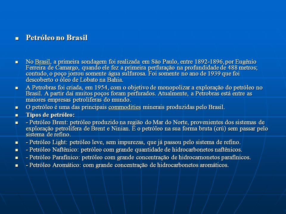 Petróleo no Brasil Petróleo no Brasil No Brasil, a primeira sondagem foi realizada em São Paulo, entre 1892-1896, por Eugênio Ferreira de Camargo, qua