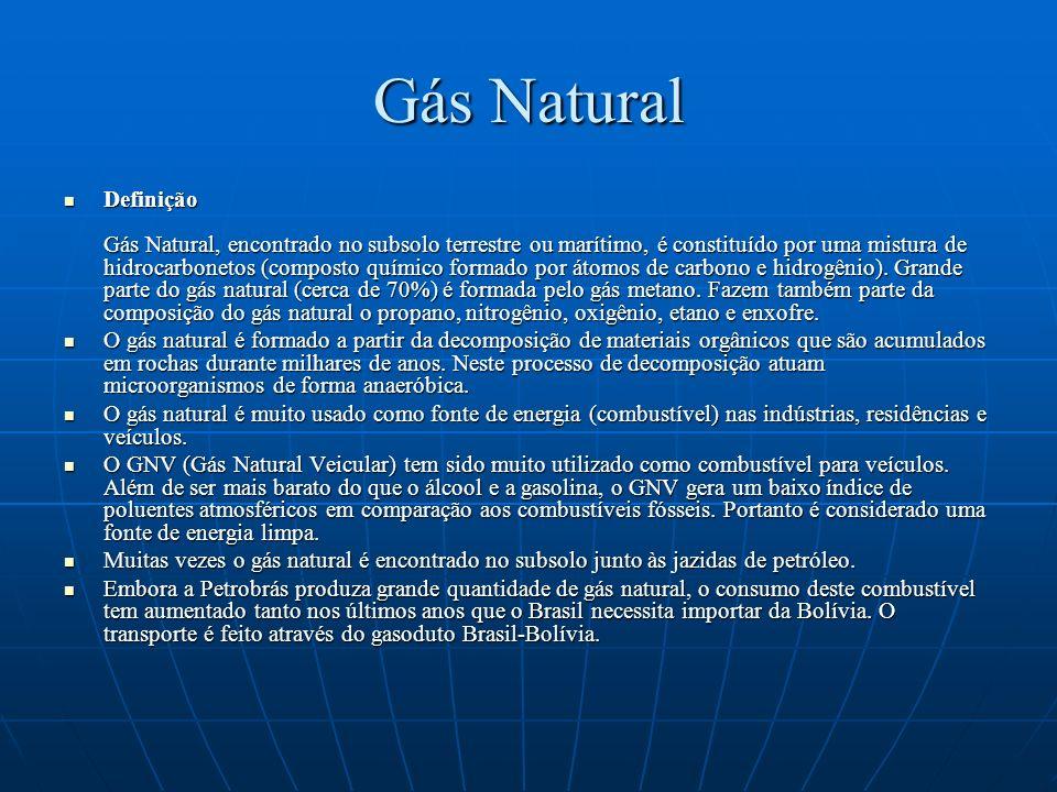Gás Natural Definição Gás Natural, encontrado no subsolo terrestre ou marítimo, é constituído por uma mistura de hidrocarbonetos (composto químico for