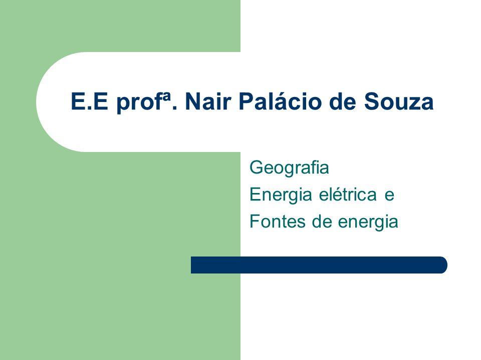E.E profª. Nair Palácio de Souza Geografia Energia elétrica e Fontes de energia