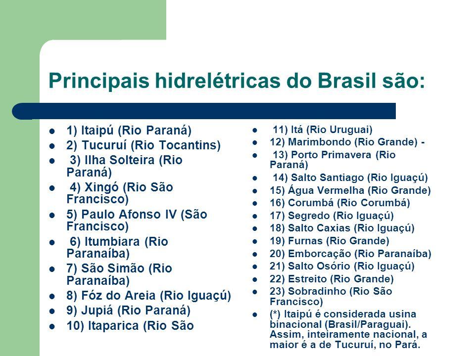 Principais hidrelétricas do Brasil são: 1) Itaipú (Rio Paraná) 2) Tucuruí (Rio Tocantins) 3) Ilha Solteira (Rio Paraná) 4) Xingó (Rio São Francisco) 5