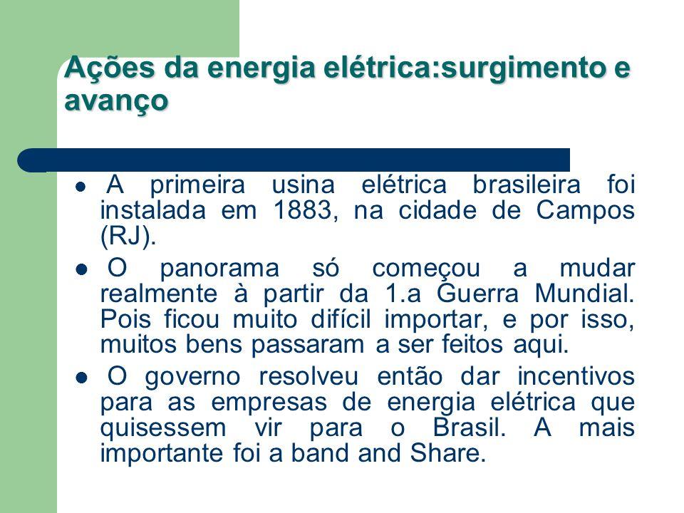 Ações da energia elétrica:surgimento e avanço A primeira usina elétrica brasileira foi instalada em 1883, na cidade de Campos (RJ). O panorama só come