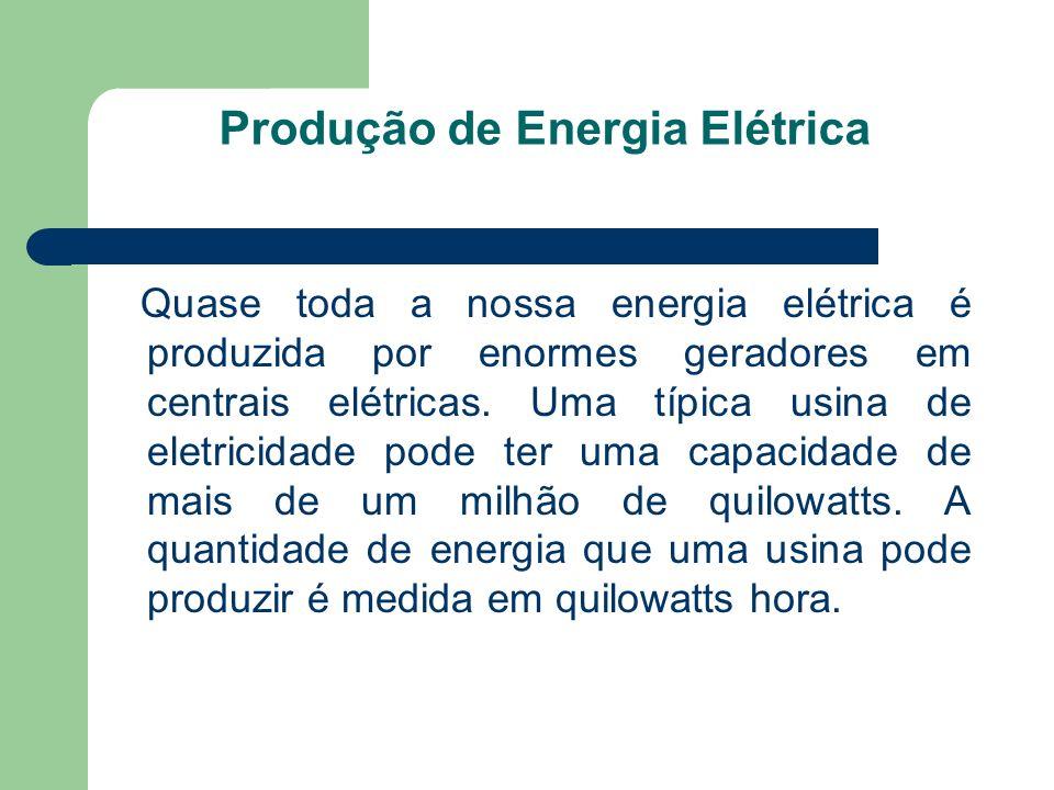 Produção de Energia Elétrica Quase toda a nossa energia elétrica é produzida por enormes geradores em centrais elétricas. Uma típica usina de eletrici