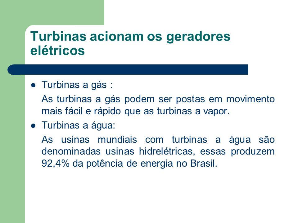 Turbinas acionam os geradores elétricos Turbinas a gás : As turbinas a gás podem ser postas em movimento mais fácil e rápido que as turbinas a vapor.