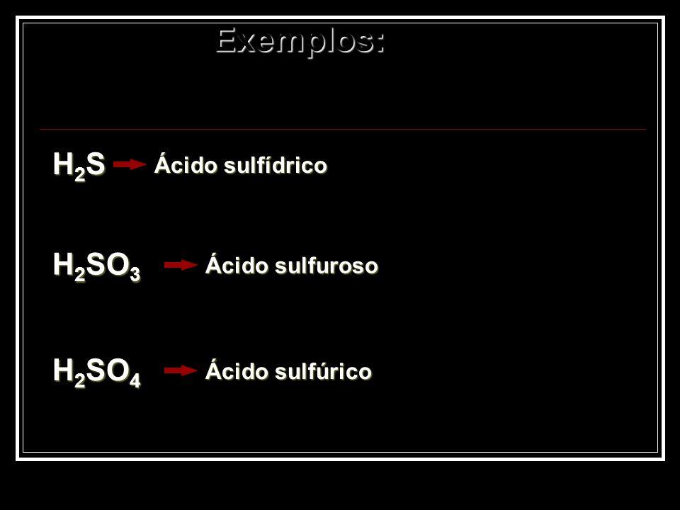 Exemplos: H2SH2SH2SH2S Ácido sulfídrico H 2 SO 3 Ácido sulfuroso H 2 SO 4 Ácido sulfúrico