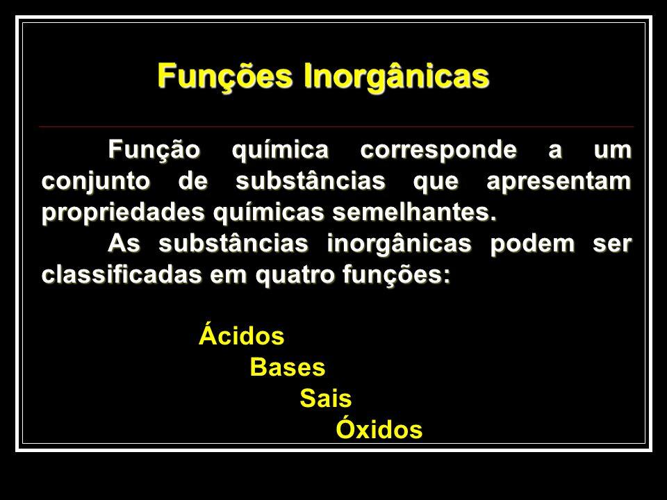 Função química corresponde a um conjunto de substâncias que apresentam propriedades químicas semelhantes. As substâncias inorgânicas podem ser classif