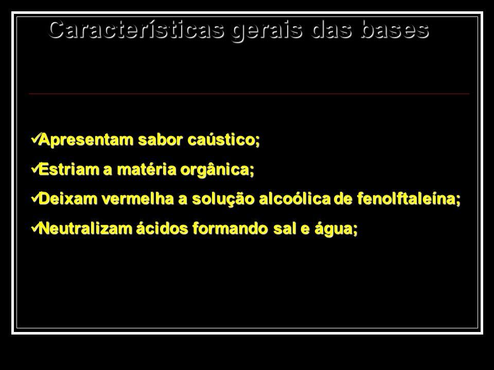 Características gerais das bases Apresentam sabor caústico; Apresentam sabor caústico; Estriam a matéria orgânica; Estriam a matéria orgânica; Deixam
