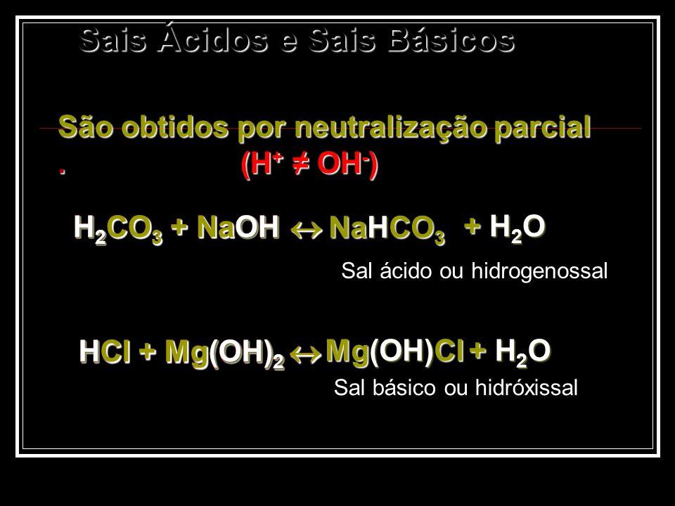 Sais Ácidos e Sais Básicos Sais Ácidos e Sais Básicos São obtidos por neutralização parcial. (H + OH - ) H 2 CO 3 + NaOH H 2 CO 3 + NaOH + H 2 O + H 2