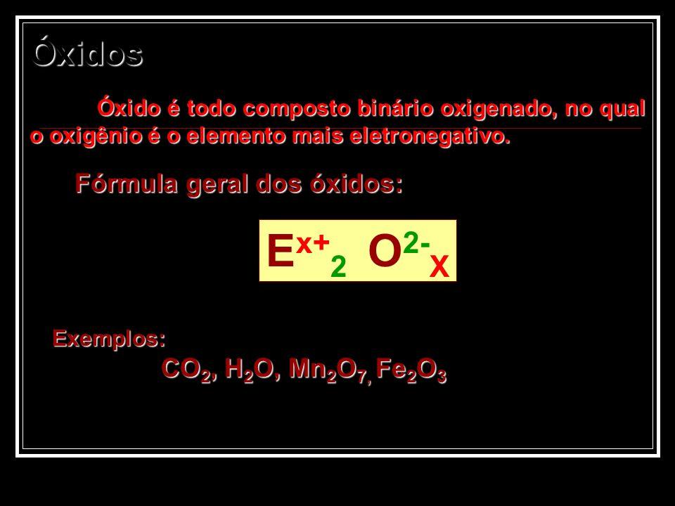 Óxidos Óxido é todo composto binário oxigenado, no qual o oxigênio é o elemento mais eletronegativo. Fórmula geral dos óxidos: Exemplos: CO 2, H 2 O,
