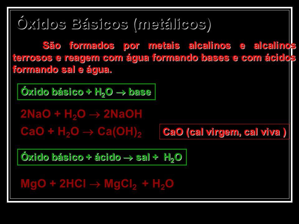 Óxidos Básicos (metálicos) São formados por metais alcalinos e alcalinos terrosos e reagem com água formando bases e com ácidos formando sal e água. 2