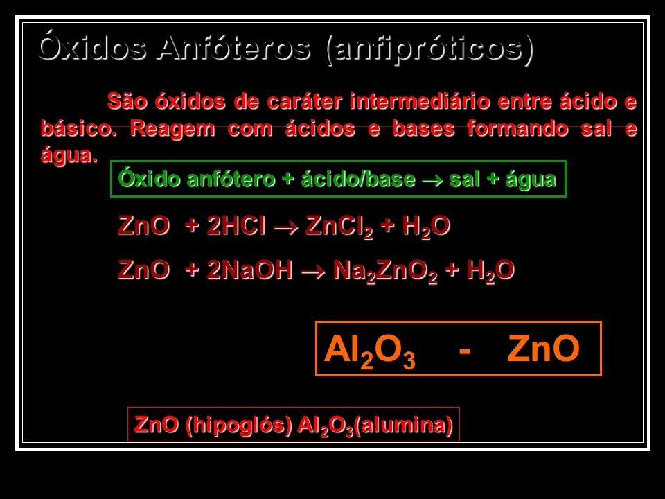 Óxidos Anfóteros (anfipróticos) São óxidos de caráter intermediário entre ácido e básico. Reagem com ácidos e bases formando sal e água. Al 2 O 3 - Zn