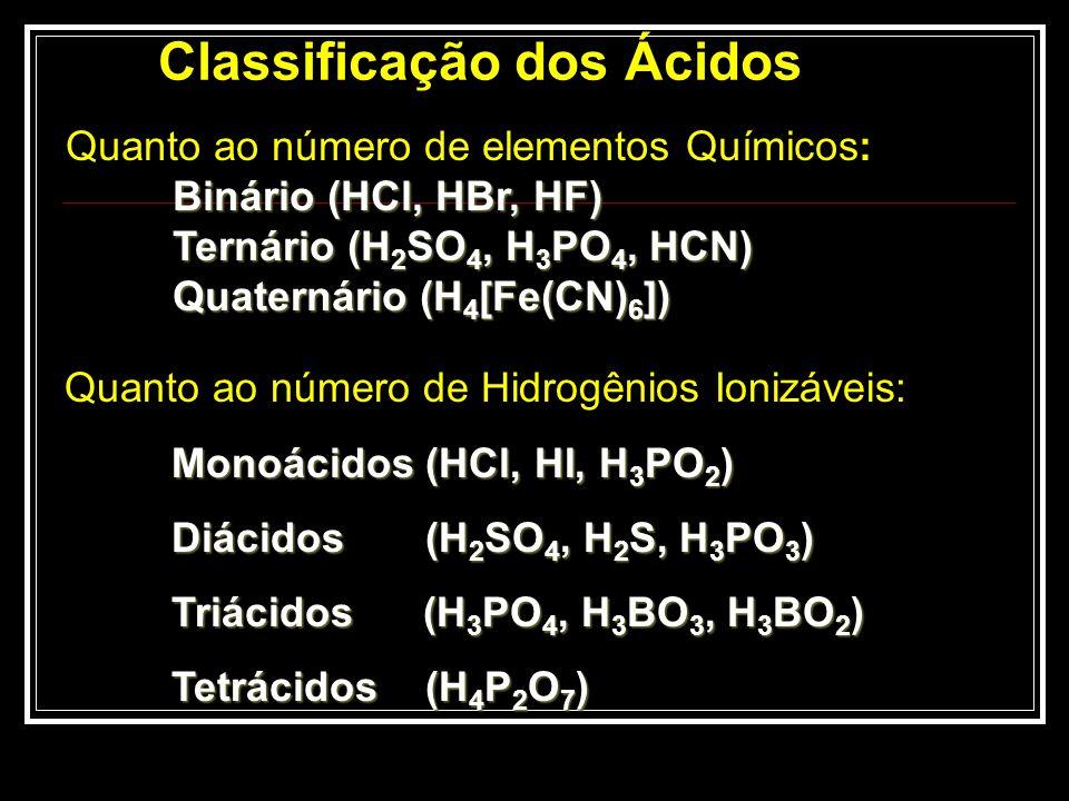 Quanto ao Grau de Ionização ( ) Ácidos fracos: 0< < 5% Ácidos moderados: 5% 50% Ácidos fortes : 50% < < 100% Nº de Mol Ionizados Nº de Mol Ionizados = = Nº Inicial de Mols Nº Inicial de Mols Ácido fraco: HClO Ácido moderado: H 3 PO 4 Ácido forte : H 2 SO 4 Ácido muito forte: HClO 4