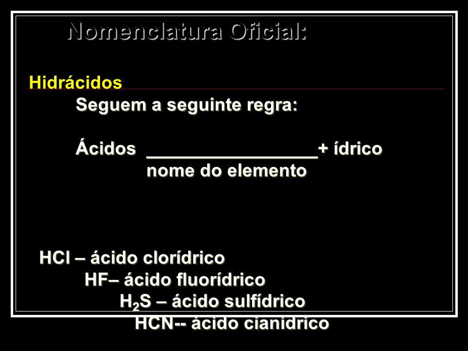 Nomenclatura Oficial: Hidrácidos Seguem a seguinte regra: Ácidos + ídrico nome do elemento nome do elemento HCl – ácido clorídrico HCl – ácido clorídr