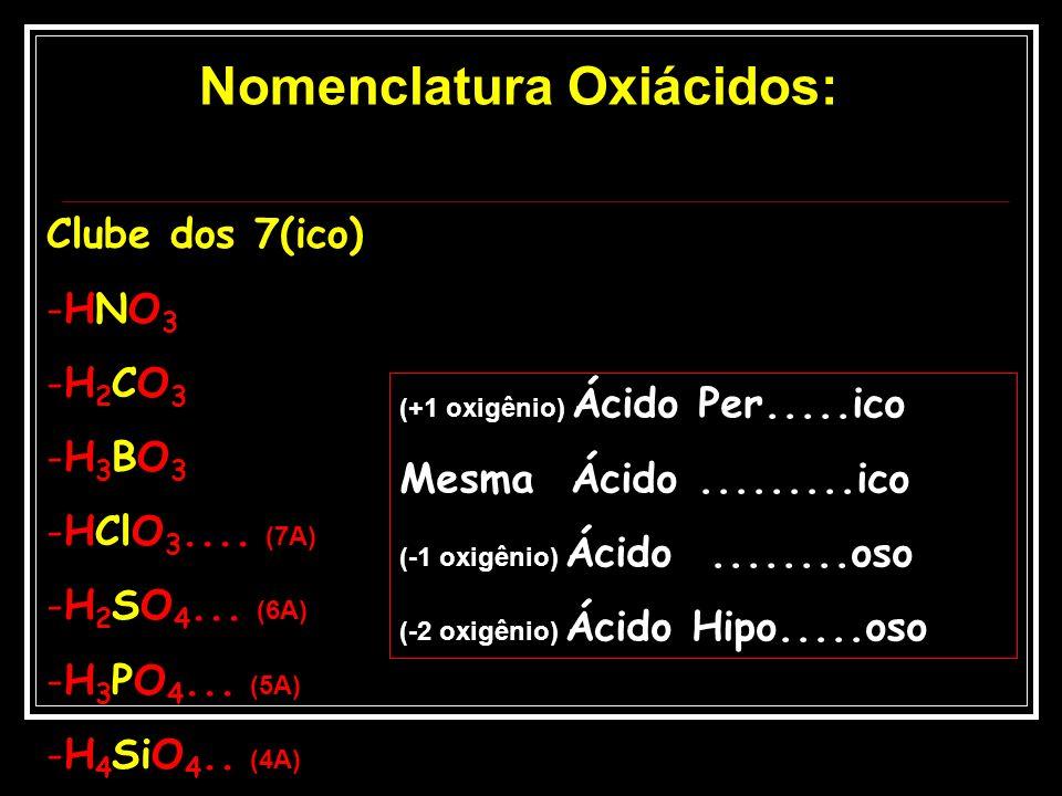 Clube dos 7(ico) -HNO3-HNO3 -H2CO3-H2CO3 -H3BO3-H3BO3 -HClO 3.... (7A) -H 2 SO 4... (6A) -H 3 PO 4... (5A) -H 4 SiO 4.. (4A) (+1 oxigênio) Ácido Per..