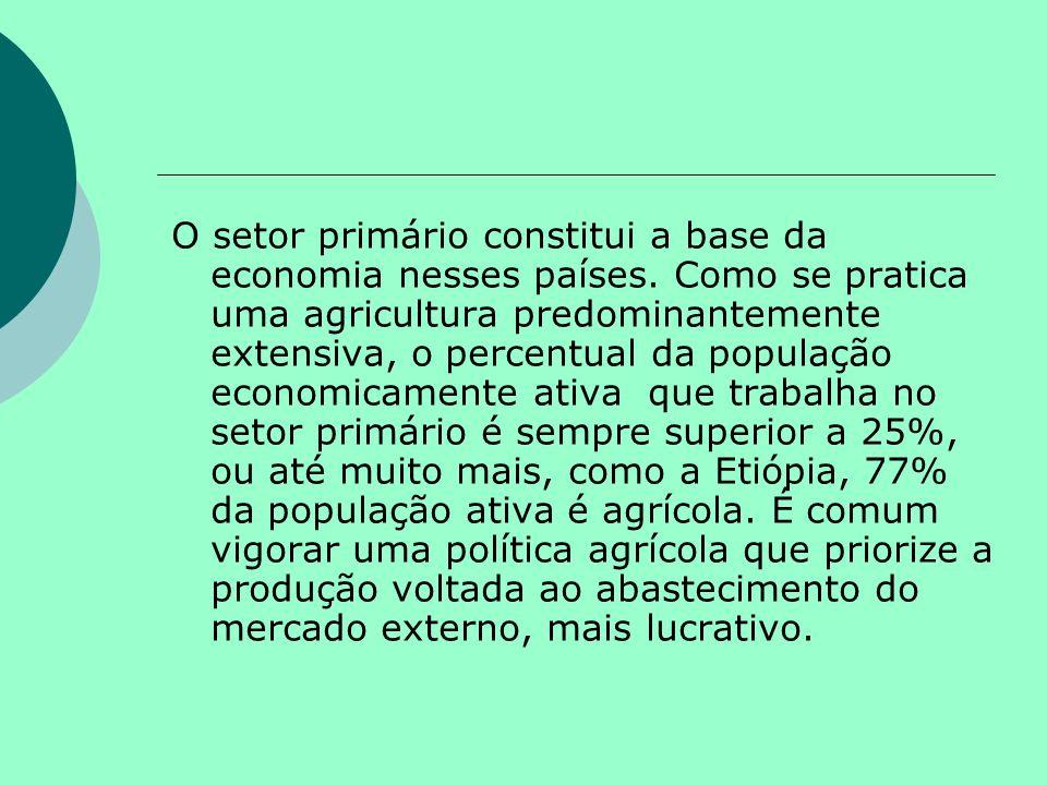 O setor primário constitui a base da economia nesses países. Como se pratica uma agricultura predominantemente extensiva, o percentual da população ec