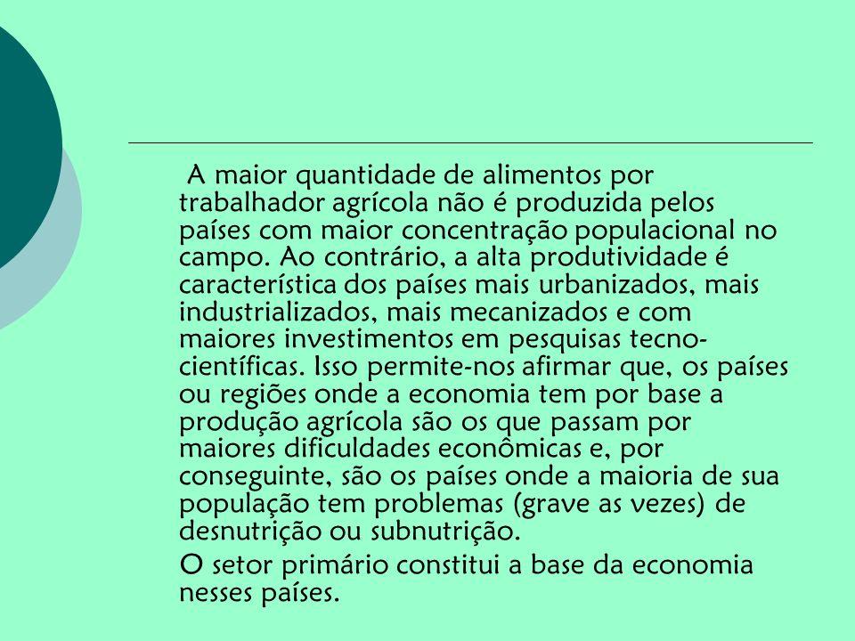 A maior quantidade de alimentos por trabalhador agrícola não é produzida pelos países com maior concentração populacional no campo. Ao contrário, a al