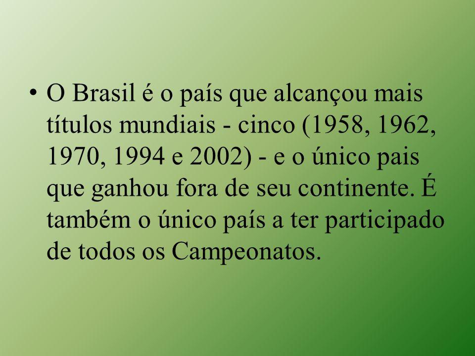 O Brasil é o país que alcançou mais títulos mundiais - cinco (1958, 1962, 1970, 1994 e 2002) - e o único pais que ganhou fora de seu continente. É tam
