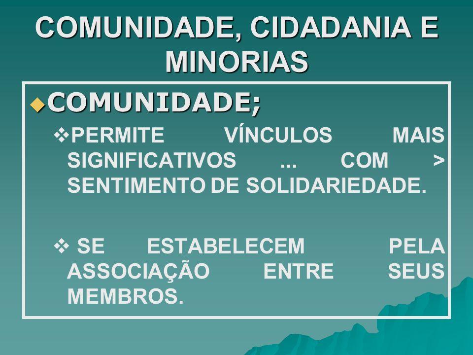 COMUNIDADE, CIDADANIA E MINORIAS COMUNIDADE; COMUNIDADE; PERMITE VÍNCULOS MAIS SIGNIFICATIVOS... COM > SENTIMENTO DE SOLIDARIEDADE. SE ESTABELECEM PEL