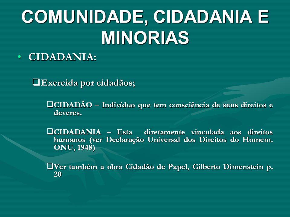 COMUNIDADE, CIDADANIA E MINORIAS CIDADANIA:CIDADANIA: Exercida por cidadãos; Exercida por cidadãos; CIDADÃO – Indivíduo que tem consciência de seus di