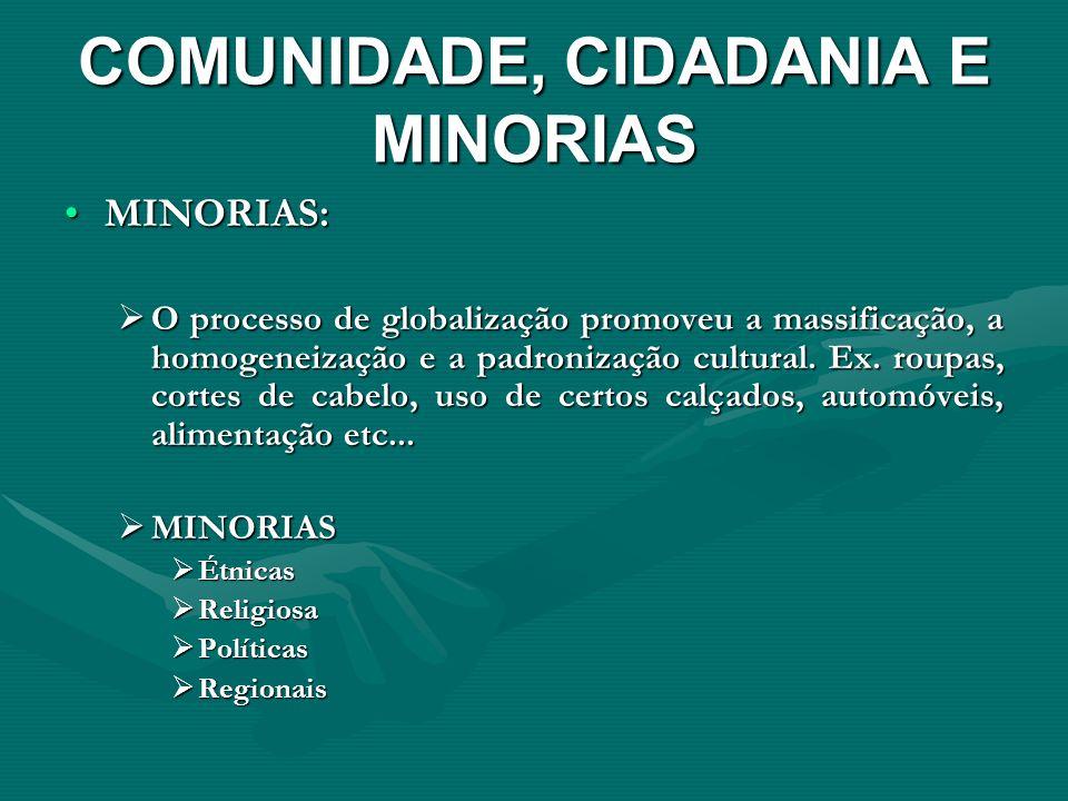 COMUNIDADE, CIDADANIA E MINORIAS MINORIAS:MINORIAS: O processo de globalização promoveu a massificação, a homogeneização e a padronização cultural. Ex