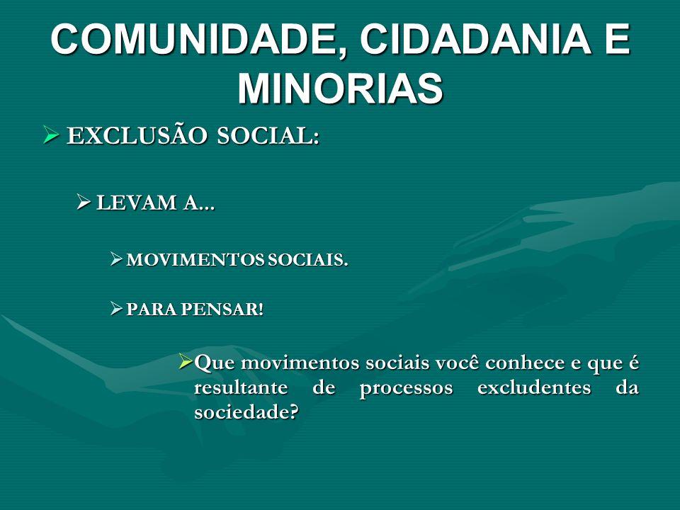 COMUNIDADE, CIDADANIA E MINORIAS EXCLUSÃO SOCIAL: EXCLUSÃO SOCIAL: LEVAM A... LEVAM A... MOVIMENTOS SOCIAIS. MOVIMENTOS SOCIAIS. PARA PENSAR! PARA PEN