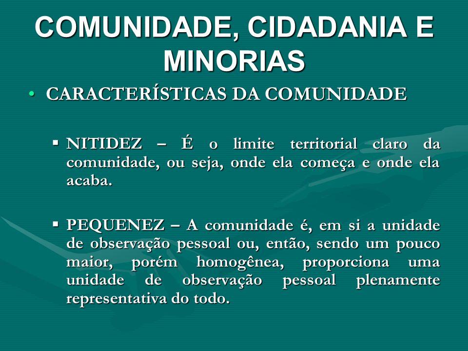 COMUNIDADE, CIDADANIA E MINORIAS CARACTERÍSTICAS DA COMUNIDADECARACTERÍSTICAS DA COMUNIDADE NITIDEZ – É o limite territorial claro da comunidade, ou s