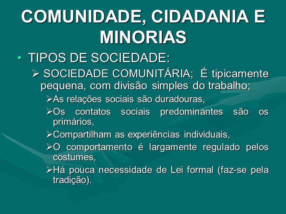 COMUNIDADE, CIDADANIA E MINORIAS TIPOS DE SOCIEDADE:TIPOS DE SOCIEDADE: SOCIEDADE COMUNITÁRIA; É tipicamente pequena, com divisão simples do trabalho;