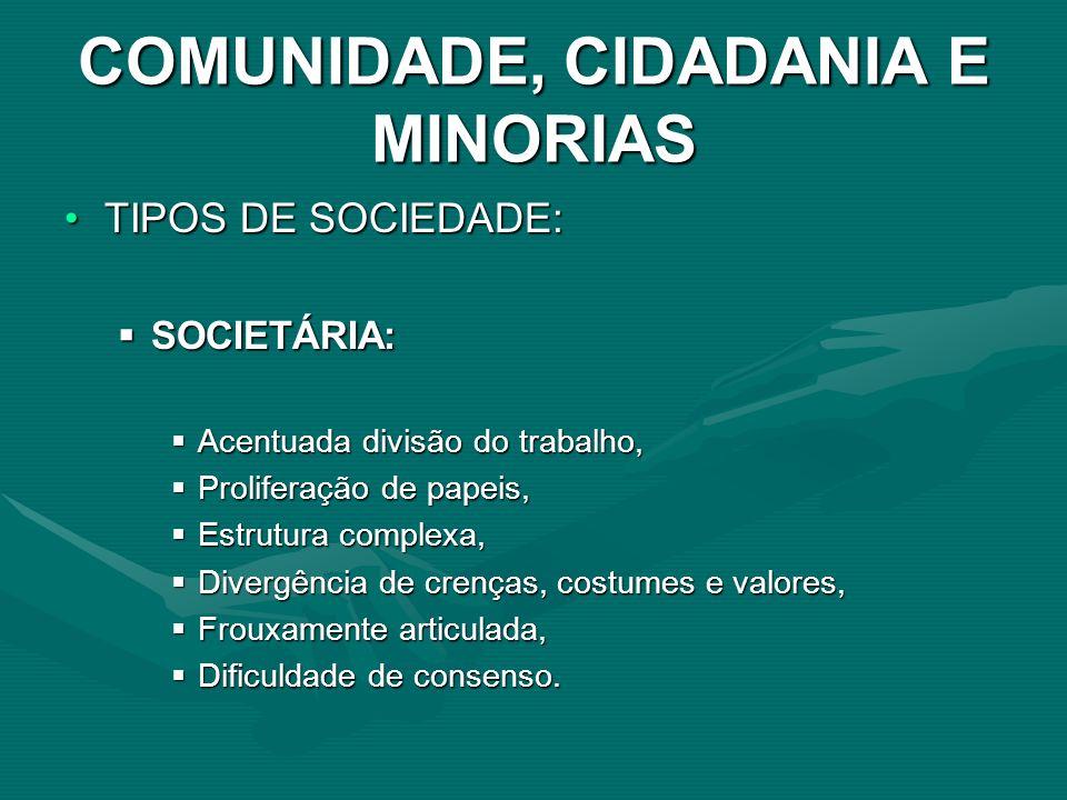 COMUNIDADE, CIDADANIA E MINORIAS TIPOS DE SOCIEDADE:TIPOS DE SOCIEDADE: SOCIETÁRIA: SOCIETÁRIA: Acentuada divisão do trabalho, Acentuada divisão do tr