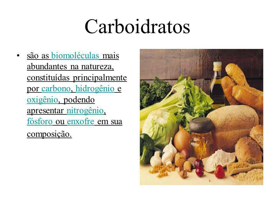 Carboidratos são as biomoléculas mais abundantes na natureza, constituídas principalmente por carbono, hidrogênio e oxigênio, podendo apresentar nitro
