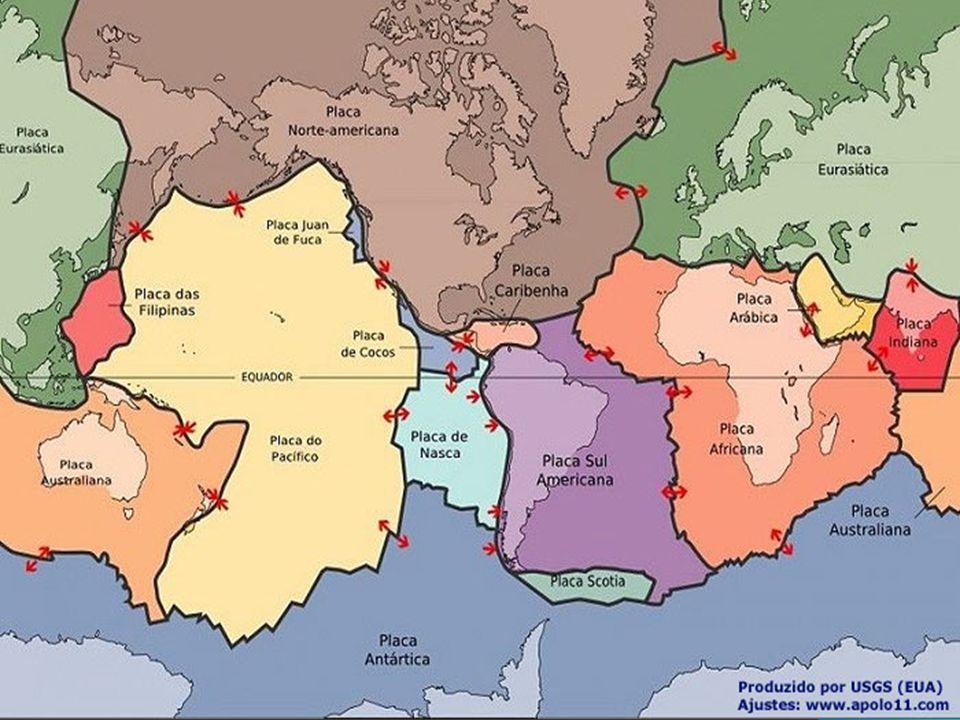 Quebra-cabeças planetário Terremotos e vulcões concentram-se nas bordas das dez placas.