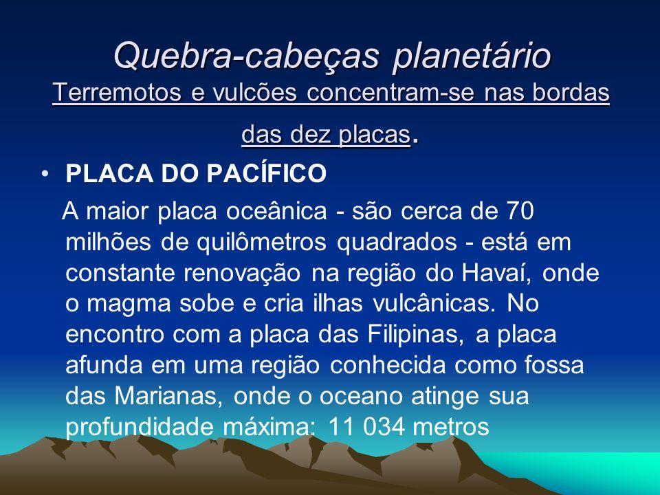 PLACA DE NAZCA A cada ano, essa placa de 10 milhões de quilômetros quadrados no leste do oceano Pacífico fica 10 centímetros menor pelas trombadas com a placa sul- americana.