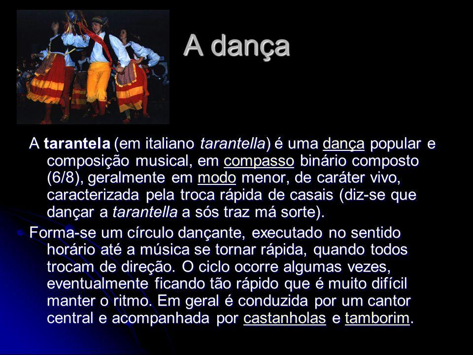 A dança A tarantela (em italiano tarantella) é uma dança popular e composição musical, em compasso binário composto (6/8), geralmente em modo menor, d