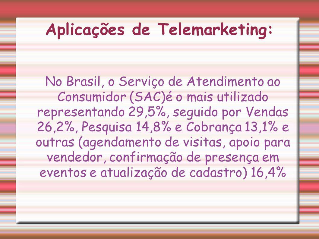 Aplicações de Telemarketing: No Brasil, o Serviço de Atendimento ao Consumidor (SAC)é o mais utilizado representando 29,5%, seguido por Vendas 26,2%,