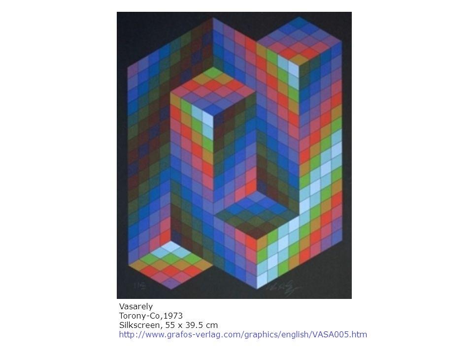 Vasarely Torony-Co,1973 Silkscreen, 55 x 39.5 cm http://www.grafos-verlag.com/graphics/english/VASA005.htm