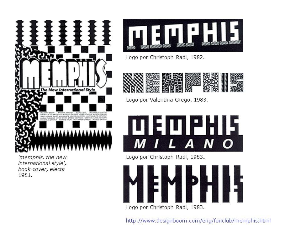 http://www.designboom.com/eng/funclub/memphis.html 'memphis, the new international style', book-cover, electa 1981. Logo por Christoph Radl, 1982. Log