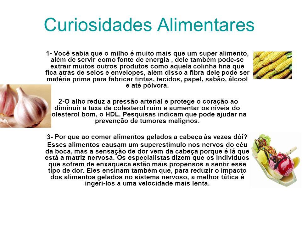 Curiosidades Alimentares 1- Você sabia que o milho é muito mais que um super alimento, além de servir como fonte de energia, dele também pode-se extra