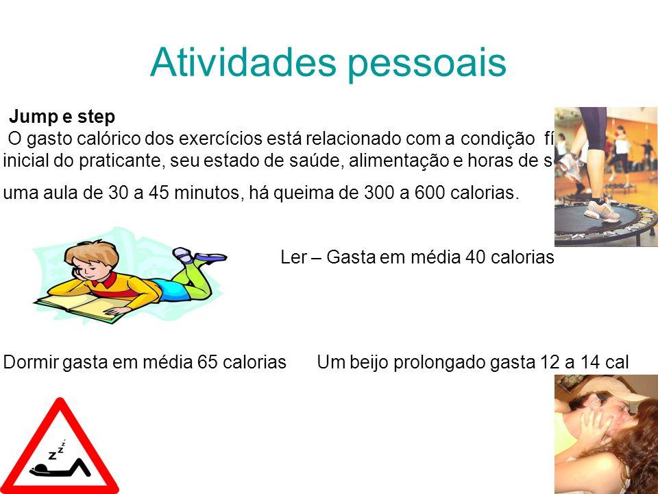 Atividades pessoais Jump e step O gasto calórico dos exercícios está relacionado com a condição física inicial do praticante, seu estado de saúde, alimentação e horas de sono.