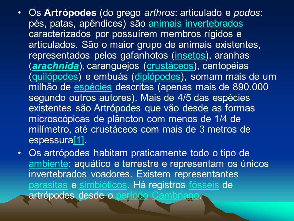 Os Artrópodes (do grego arthros: articulado e podos: pés, patas, apêndices) são animais invertebrados caracterizados por possuírem membros rígidos e a
