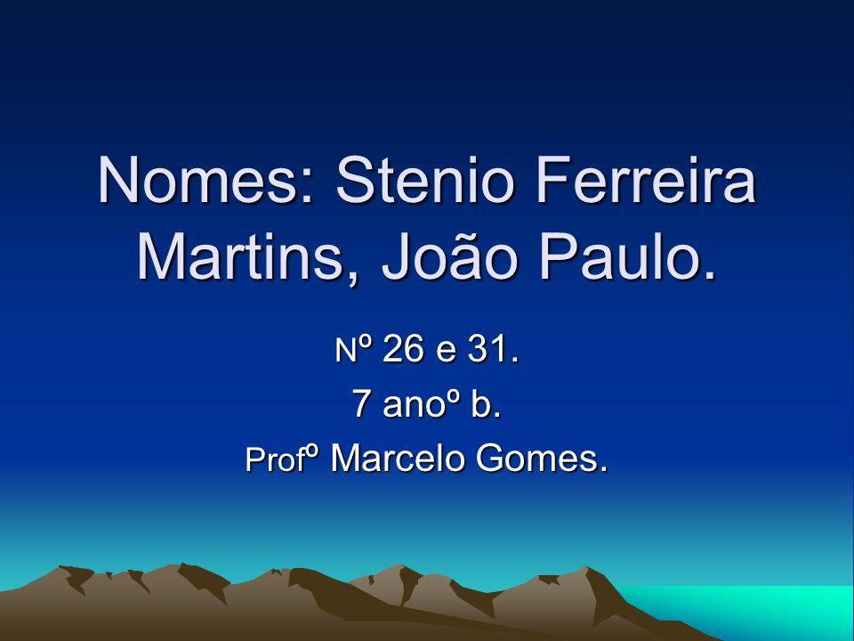 Nomes: Stenio Ferreira Martins, João Paulo. N º 26 e 31. 7 anoº b. Prof º Marcelo Gomes.