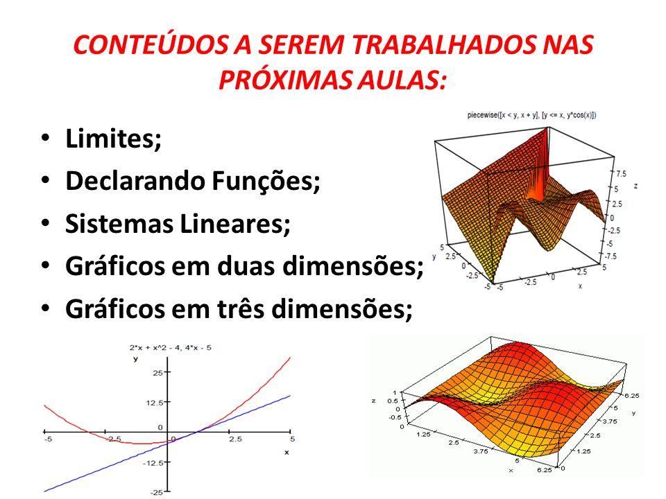 CONTEÚDOS A SEREM TRABALHADOS NAS PRÓXIMAS AULAS: Limites; Declarando Funções; Sistemas Lineares; Gráficos em duas dimensões; Gráficos em três dimensõ