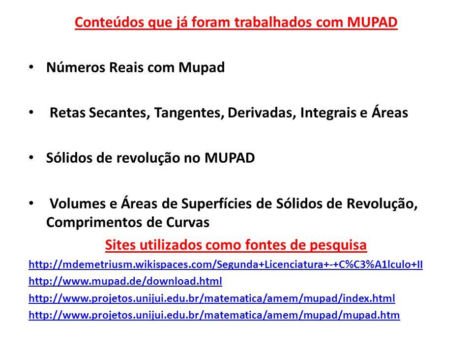 Conteúdos que já foram trabalhados com MUPAD Números Reais com Mupad Retas Secantes, Tangentes, Derivadas, Integrais e Áreas Sólidos de revolução no M