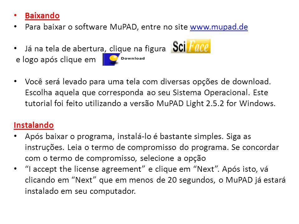 Baixando Para baixar o software MuPAD, entre no site www.mupad.dewww.mupad.de Já na tela de abertura, clique na figura e logo após clique em Você será
