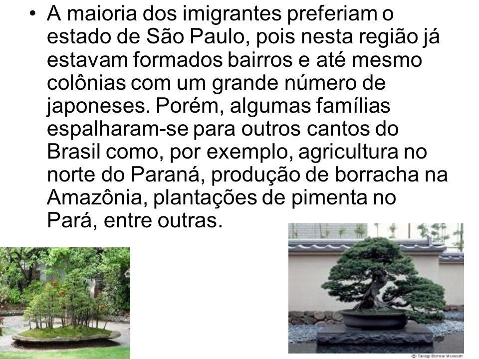 A maioria dos imigrantes preferiam o estado de São Paulo, pois nesta região já estavam formados bairros e até mesmo colônias com um grande número de j
