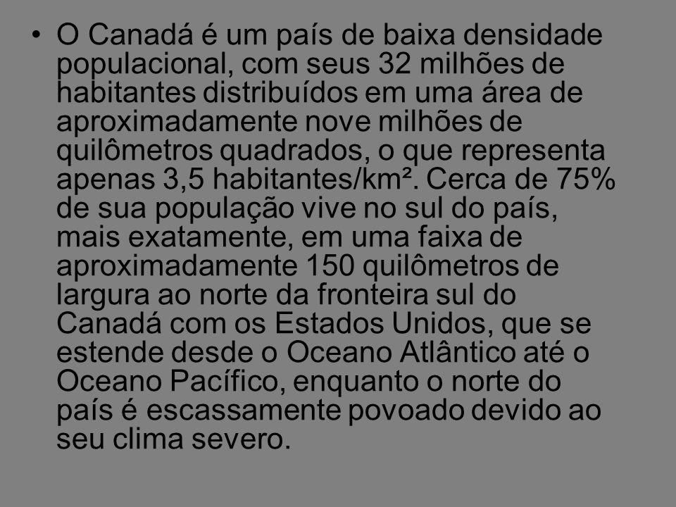 O Canadá é um país de baixa densidade populacional, com seus 32 milhões de habitantes distribuídos em uma área de aproximadamente nove milhões de quil