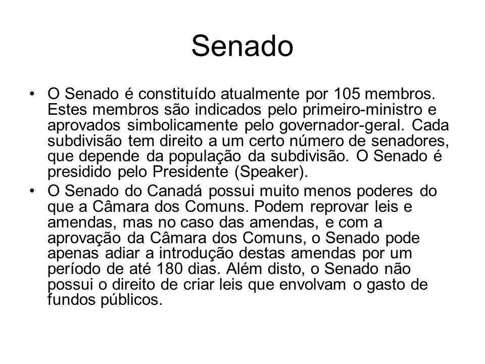Senado O Senado é constituído atualmente por 105 membros. Estes membros são indicados pelo primeiro-ministro e aprovados simbolicamente pelo governado