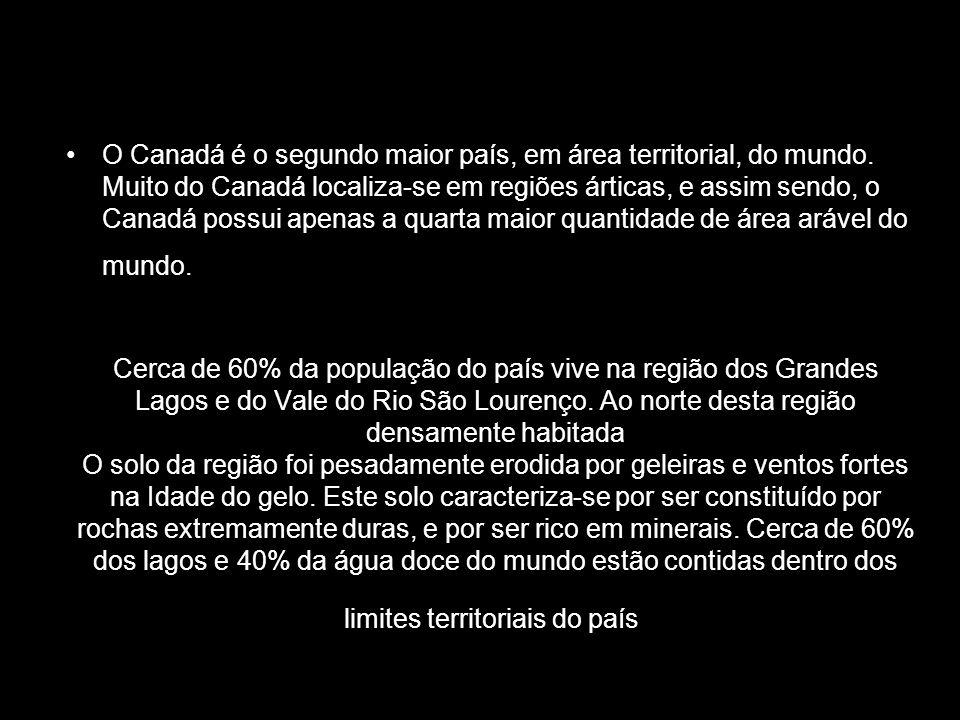 Cerca de 60% da população do país vive na região dos Grandes Lagos e do Vale do Rio São Lourenço. Ao norte desta região densamente habitada O solo da