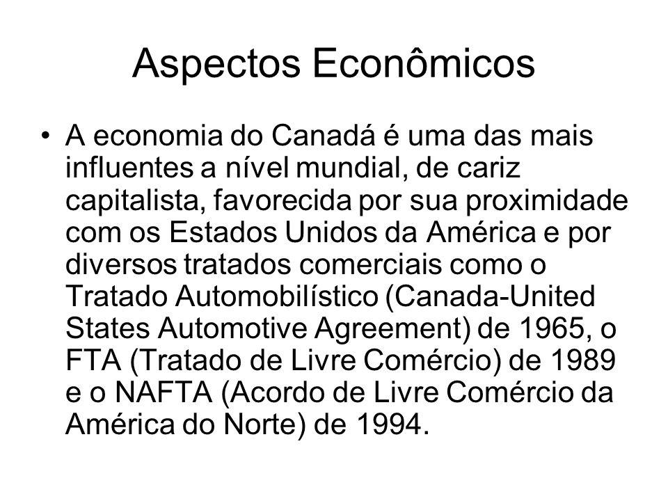 Aspectos Econômicos A economia do Canadá é uma das mais influentes a nível mundial, de cariz capitalista, favorecida por sua proximidade com os Estado
