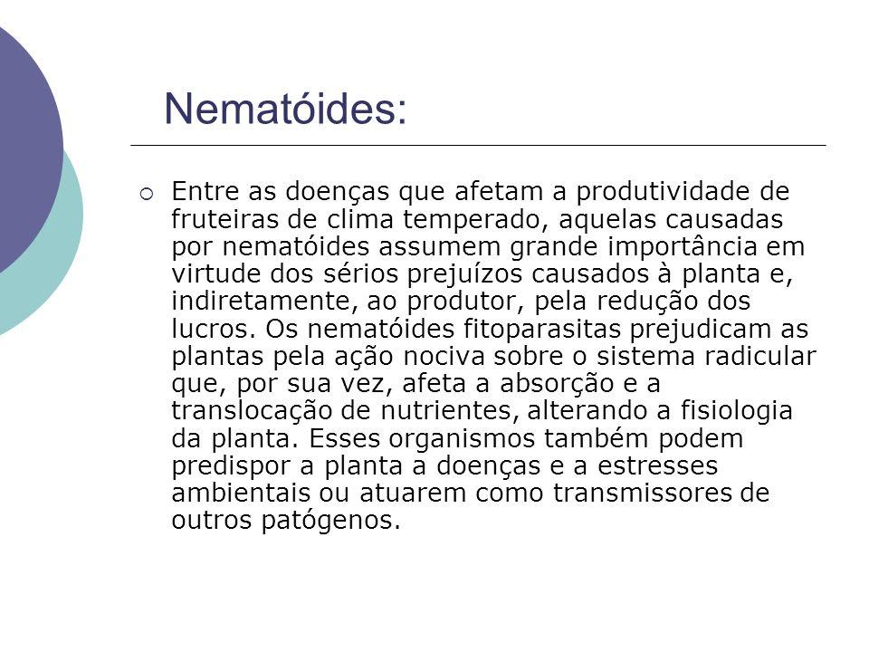 Entre as doenças que afetam a produtividade de fruteiras de clima temperado, aquelas causadas por nematóides assumem grande importância em virtude dos