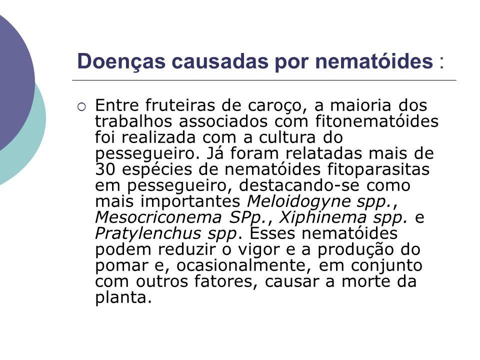 Doenças causadas por nematóides : Entre fruteiras de caroço, a maioria dos trabalhos associados com fitonematóides foi realizada com a cultura do pess