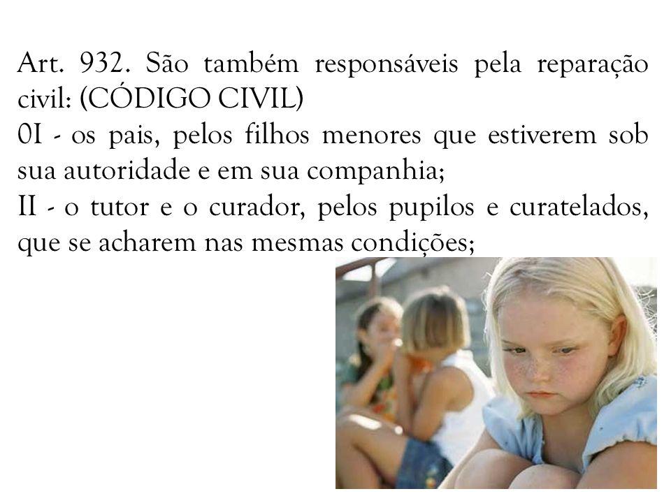 Art. 932. São também responsáveis pela reparação civil: (CÓDIGO CIVIL) 0I - os pais, pelos filhos menores que estiverem sob sua autoridade e em sua co